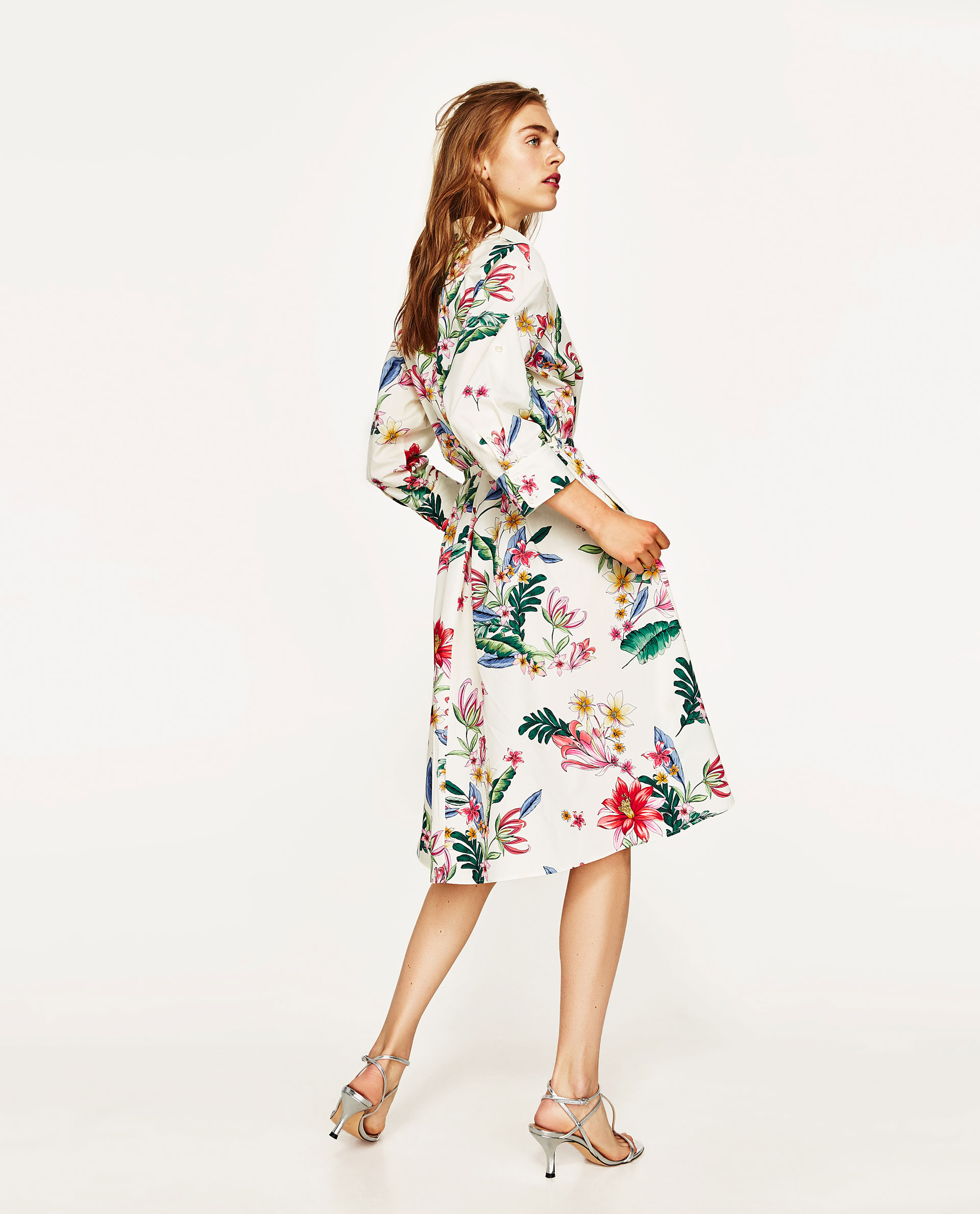 7603071926 Shirt Dress With Floral Embroidery Zara