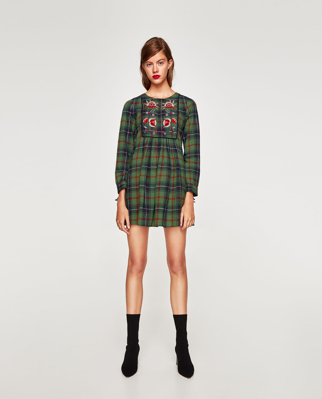 Zara - checked dress with floral embrodery
