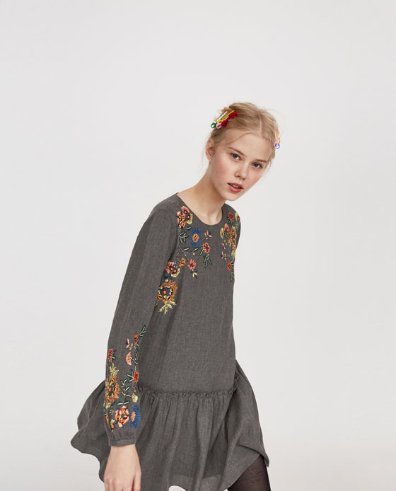 Zara Embroidered Dress With Ruffles Dresscodes