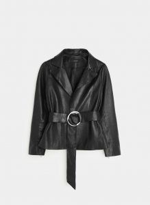Uterqüe - black lether jacket with buckle