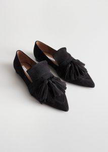 & Other Stories - black suede tassel loafers