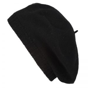 Scotlandshop - black knitted cashmere beret