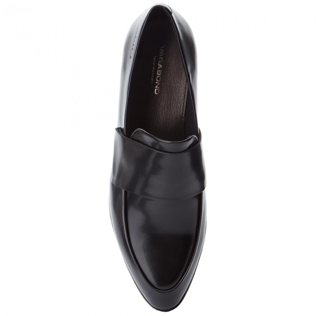 Black Loafer In Polido Leather