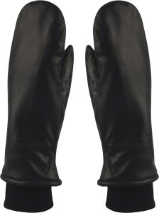 MJM - black leather mittens with lining