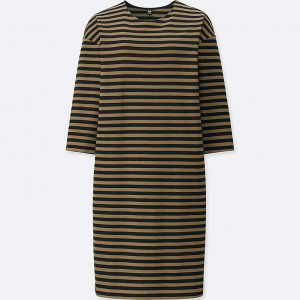 Uniqlo - striped crew neck 3/4 sleeved dress