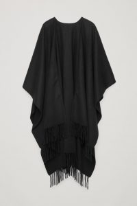 COS - black fringed cape