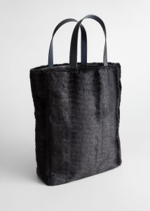 Other Stories - large black faux fur tote