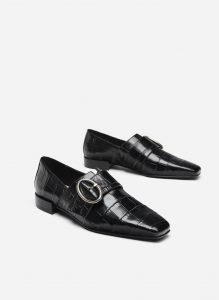 Uterque - mock croc leather loafers with buckle