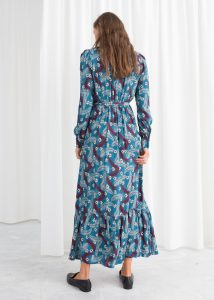 Other Stories - blue belted ruffle midi dress