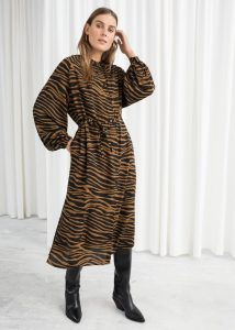 & Other Stories - oversized belted zebra midi dress