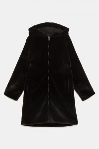 Zara - faux fur hooded coat