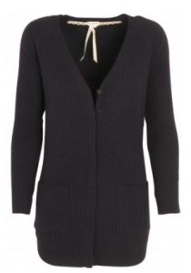 Life is Cashmere - black ribbed cardigan