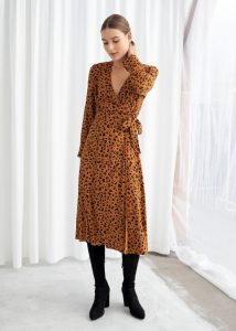 Other Stories - leopard print wrap dress