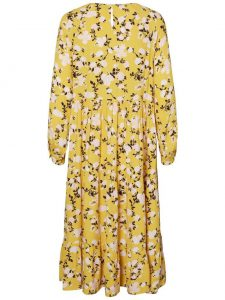 Pieces - yellow floral midi dress