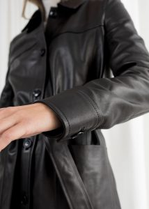 Other Stories - black belted leather trench