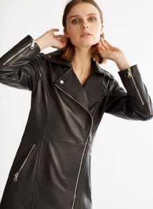 Uterque - long black leather biker jacket