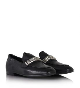 Billi Bi - black leather loafers with studded band