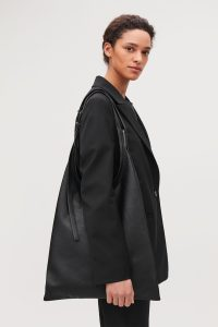 COS - black leather shopper bag