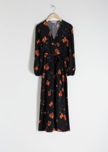 Other Stories - black floral wrap midi dress