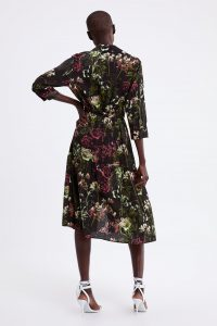 Zara - black flora shirt dress