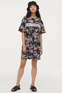 HM - floral t-shirt dress with print