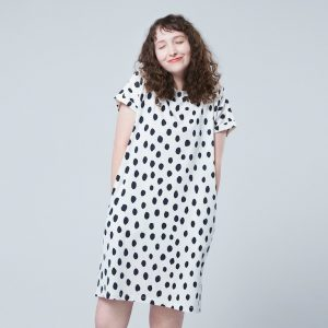 Uniqlo - offwhite dress with black dots