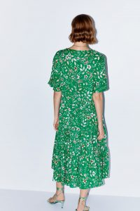 Zara - green floral midi dress