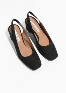 & Other Stories - black suede slingback pumps
