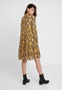 Second Female - yellow snake printed midi dress