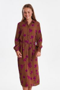 Ichi - midi shirt dress with print