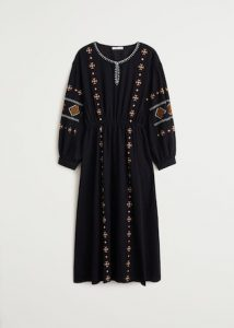 Mango - embroidered boho dress