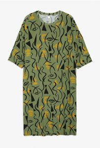 Monki - oversized t-shirt dress with abstract eye print