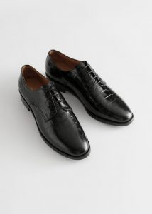 Other Stories - black croc embossed leather Oxfords