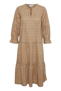 Saint Tropez - tan printed dress with frills