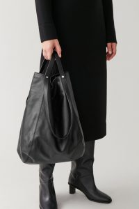 COS - black versatile leather shopper