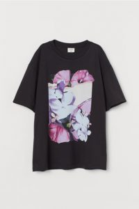 H&M x Helena Christensen - black t-shirt with flower print