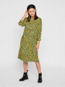 Pieces - green leo printed dress