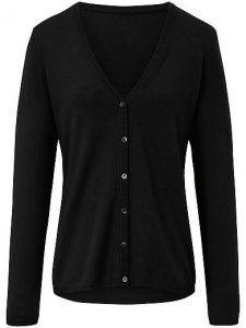Peter Hahn - black v-neck cardigan i wool and cashmere