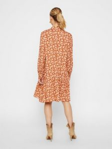 Y.A.S. - dark orange printed dress with frilled skirt