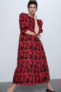 Zara - red sequinned printed dress