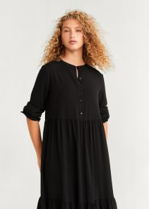 Mango - black buttoned midi dress