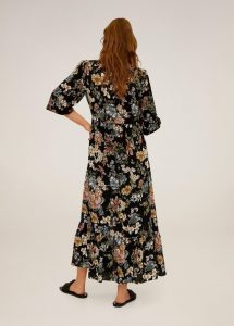 Mango - black floral midi dress