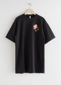 & Other Stories - rose embroidered mini t-shirt dress