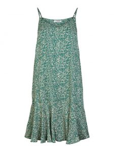Pieces - green floral strap dress