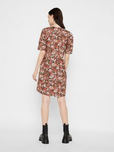 Pieces - short sleeved floral cotton dress