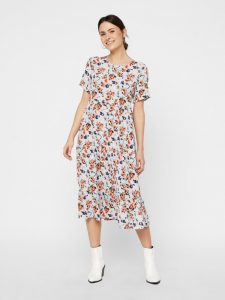 Pieces - short sleeved floral midi dress