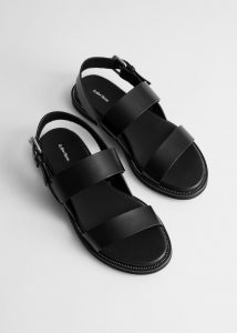 & Other Stories - black diagonal slingback leather sandals