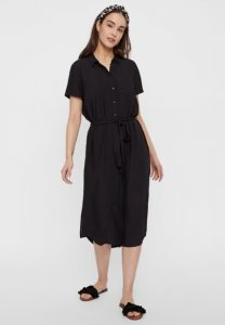 Pieces - black short sleeved shirt dress