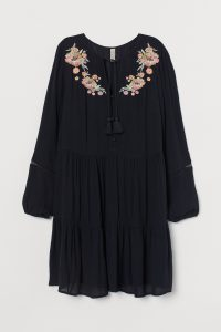 HM - Black bobo dress with embroidery