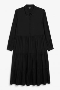 Monki - black shirt dress with frilled skirt